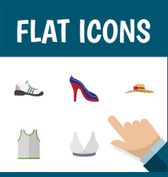 Flat icon dress set of brasserie elegant headgear vector