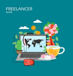 freelancer work flat style design vector image
