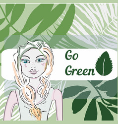 Green world in dream of pretty girl- grass vector