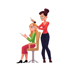 hairdresser dying long hair of blond woman who vector image