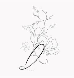 Handwritten line drawing floral logo monogram q vector