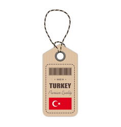 hang tag made in turkey with flag icon isolated on vector image