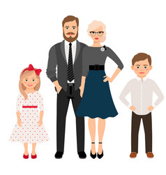 Happy family in classic style clothes vector