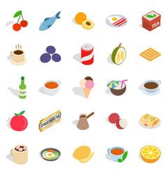 Harmful dessert icons set isometric style vector