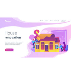 House renovation concept landing page vector