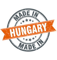 Hungary orange grunge ribbon stamp on white vector