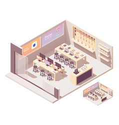 Isometric smartphones and computer store vector