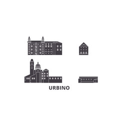 Italy urbino city flat travel skyline set italy vector