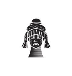 Karen long neck woman with brass coils icon vector