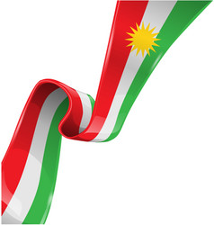 kurdistan ribbon flag on white background vector image