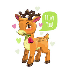 little cute cartoon deer valentines vector image