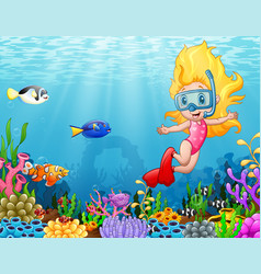 little girl diving in the sea vector image