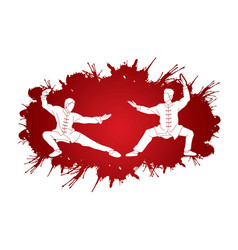 Men pose ready to fight kung fu action cartoon vector