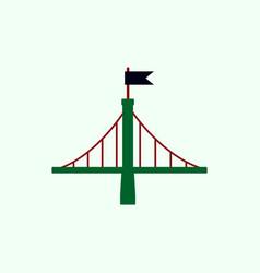 Metal bridge with flag vector