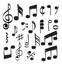 Music note doodles sketch musical hand vector