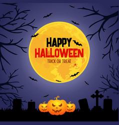 night halloween background with moon bats webs vector image