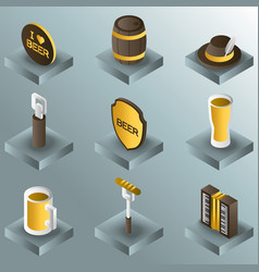 octoberfest color gradient isometric icons vector image