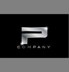 P silver metal letter company design logo vector