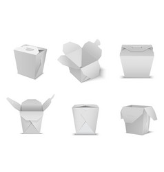 paper square noodle take out white container vector image