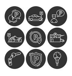 Parking line icons vector