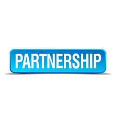 Partnership blue 3d realistic square isolated vector