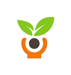 people green leaf vegetarian logo vector image