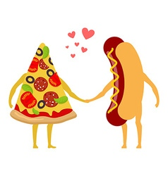 Pizza and hot dog love Piece of pizza and sausage vector