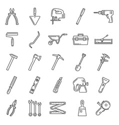 Repair and construction tools thin line icons vector