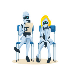 Robot couple sit on chair wait for job interview vector