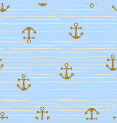 Seamless pattern with gold anchors vector
