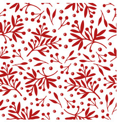 Seamless pattern with red plants on white vector