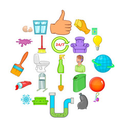 service worker icons set cartoon style vector image