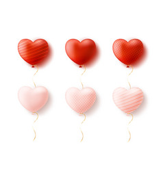 set balloon heart shape isolated on white vector image