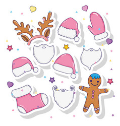 set christmas celebration and santa claus costume vector image
