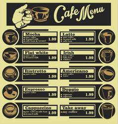 Set of coffee menu with a cups of coffee drinks 4 vector