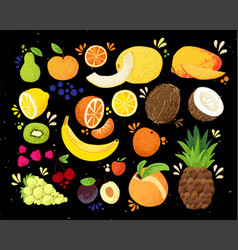 Set of colorful hand draw fruits tropical sweet vector