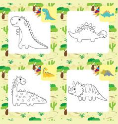 Set of cute cartoon dino coloring page vector
