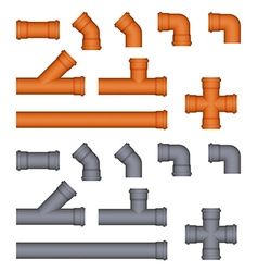 Set of plastic sewer pipes vector