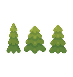 Set of three fir trees flat christmas tree flat vector