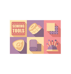 Sewing tools set tailoring and dressmaking vector