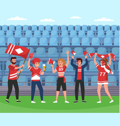 sport supporters soccer team happy fans group vector image