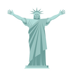 statue of liberty is cheerful happy landmark vector image