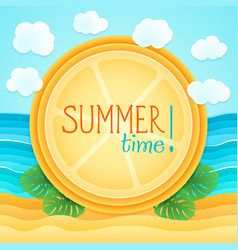 summer beach sand sea monstera holiday tourism vector image