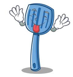 Tongue out spatula character cartoon style vector