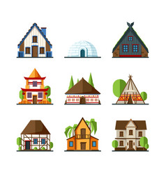 traditional house indian asian rural buildings vector image