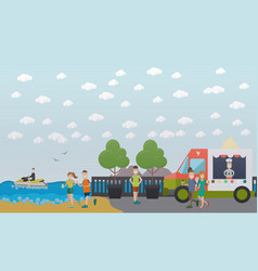 Training outdoors concept flat vector