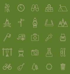 Trekking line color icons on green background vector