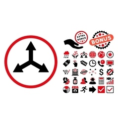 Triple Arrows Flat Icon with Bonus vector image