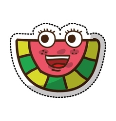 watermelon fruit character comic icon vector image