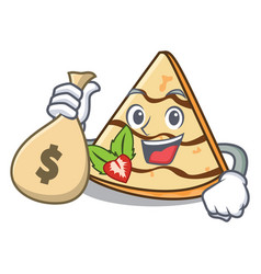 With money bag crepe character cartoon style vector